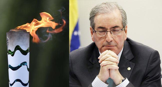 Tocha Olímpica e deputado federal afastado Eduardo Cunha (Foto: Reprodução)