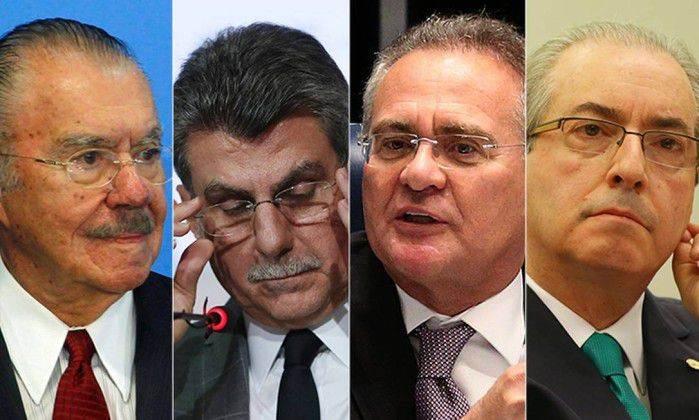 Sarney, Renan, Cunha e Jucá têm pedido de prisão em aberto (Foto: Reprodução)