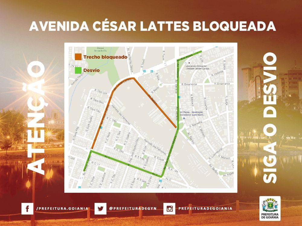 A Avenida César Lattes estará bloqueada por cerca de 60 dias   Foto: Divulgação / Prefeitura de Goiânia