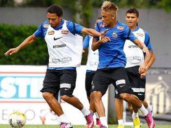 No Santos, Adriano e Neymar faziam parte do mesmo elenco (Foto: Reprodução)