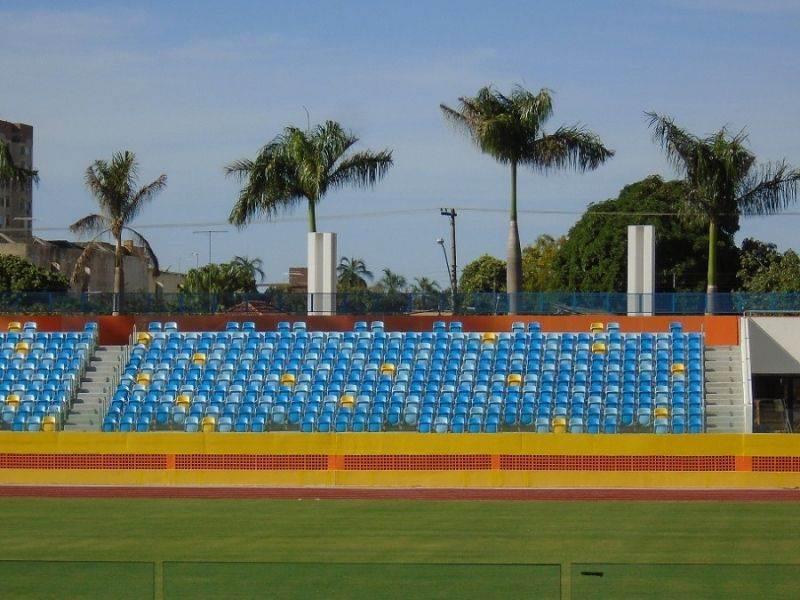 Cores usadas no Estádio Olímpíco são as mesmas definidas como padrão do PSDB de Marconi (Foto: Perícia Técnica do MP-GO)