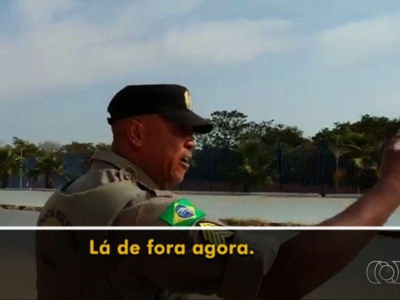 Policial Militar agride ciclista em Parque de Goiânia   Foto: Divulgação/TV Anhanguera