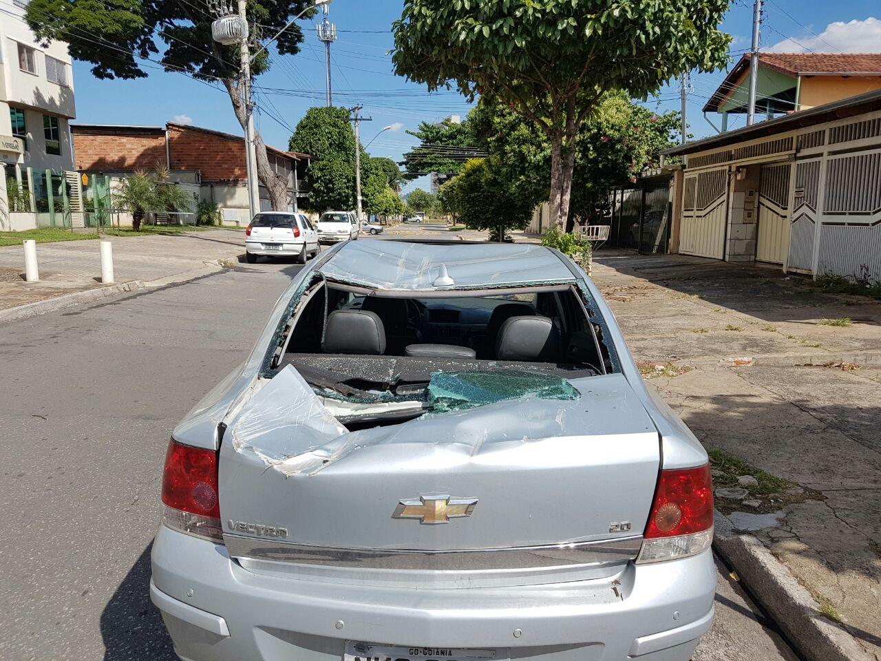 Veículo ficou destruído após queda de árvore no Jardim América | Foto: Guilherme Coelho