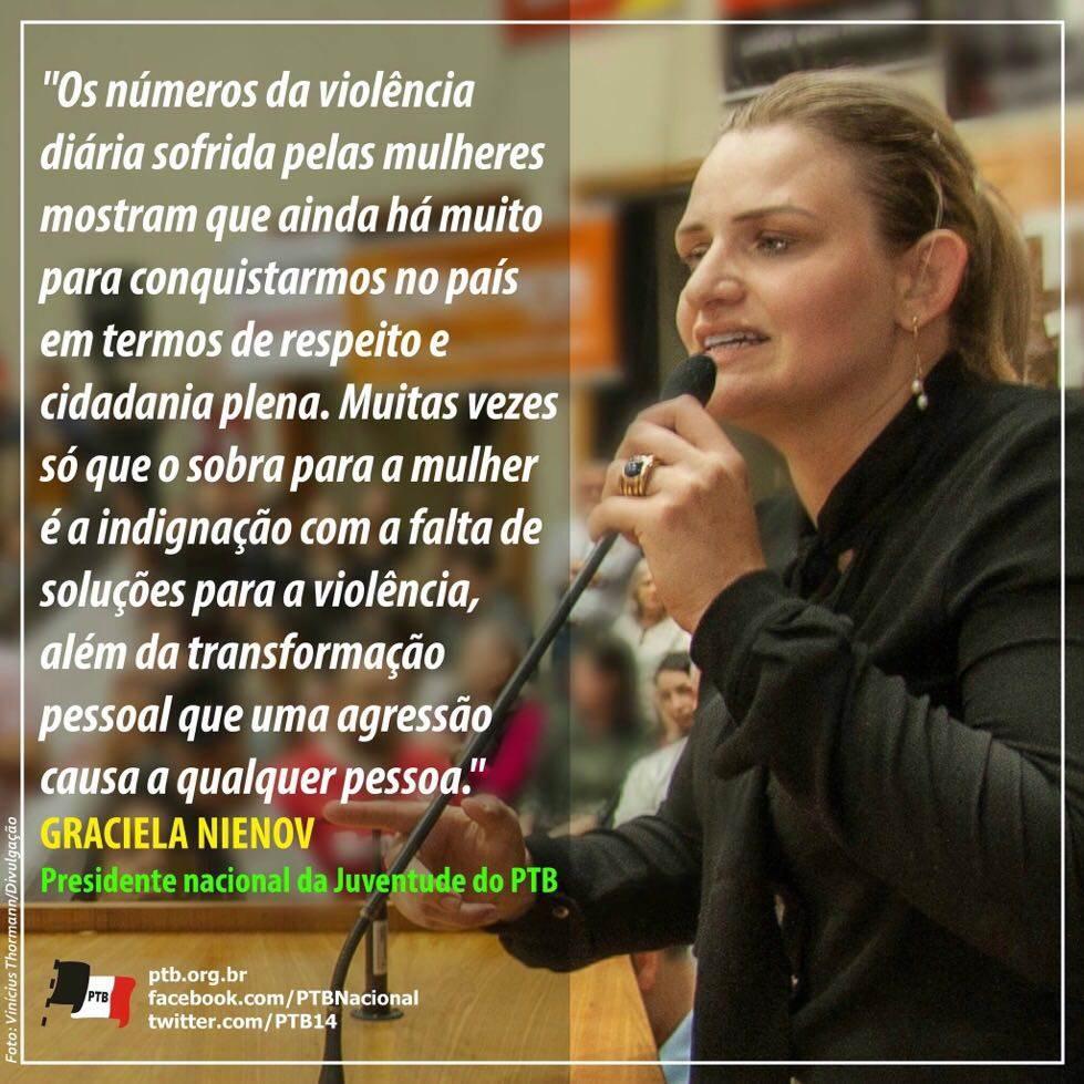 Presidente nacional da Juventude do PTB Graciela Nienov | Foto: Vinicius Thormann