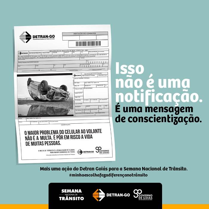 Detran-GO enviou notificações ilustrativas para alertar sobre riscos de acidentes – Foto: Divulgação