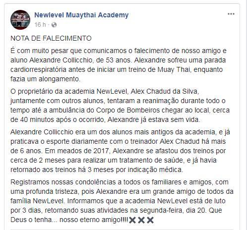 Academia divulgou nota sobre o ocorrido | Foto: Reprodução/ Facebook