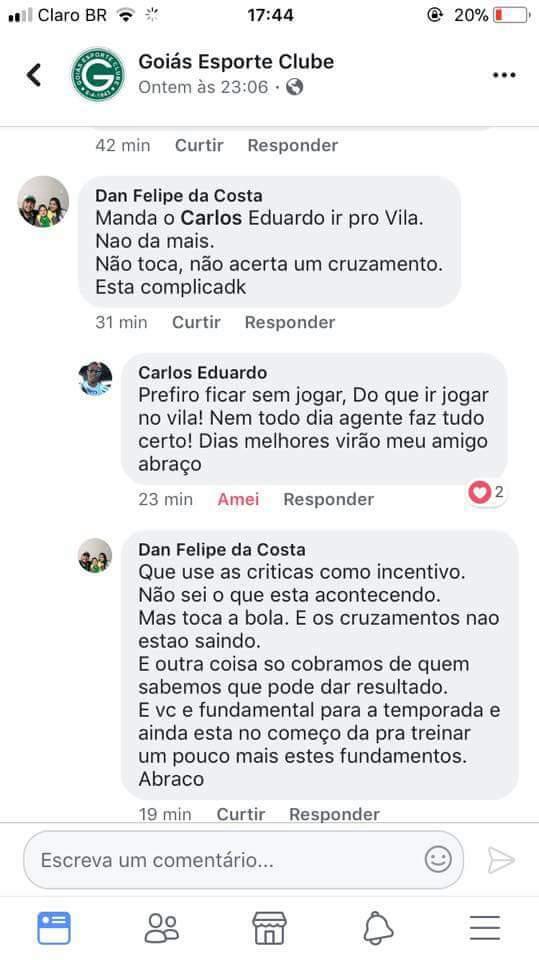 'Prefiro ficar sem jogar do que ir jogar no Vila Nova', escreve perfil de Carlos sobre ir para o Vila   Foto: Reprodução/ Facebook