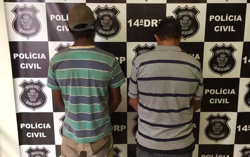 Dupla é presa após encher com pedras corpo de amigo assassinado em Jataí   Foto: Divulgação/ Polícia Civil