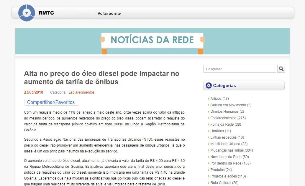 Nota da RMTC protesta contra preço do óleo diesel   Foto: Reprodução
