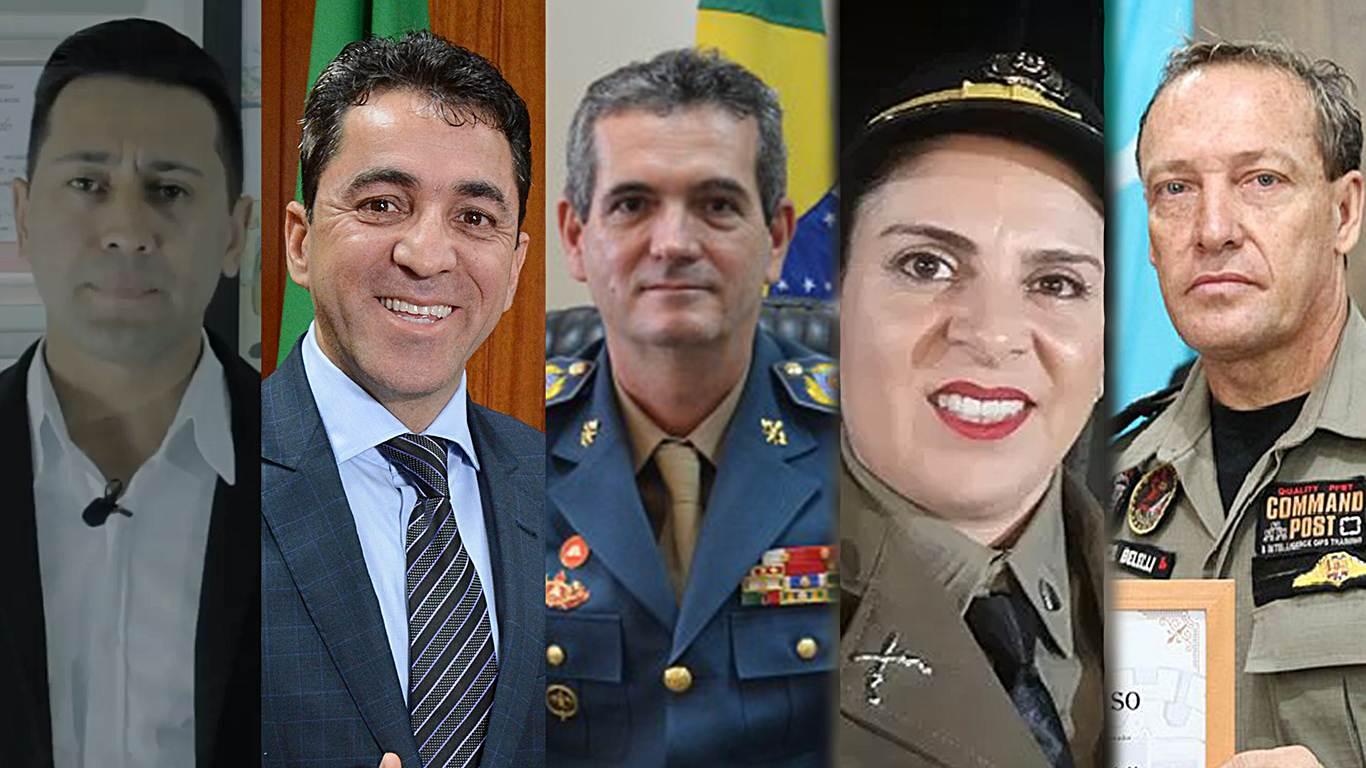 Confira quem são os candidatos militares a cargos eletivos em Goiás. Na imagem, Cabo Glaciel, Cabo Senna, Comandante Helbinger, Sargento Denise e Tenente-coronel Carlos Belelli | Foto: Reprodução