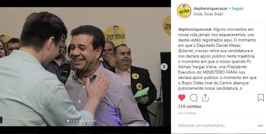 Henrique César comemorou o apoio de Daniel Messac em seu Instagram   Foto: Reprodução