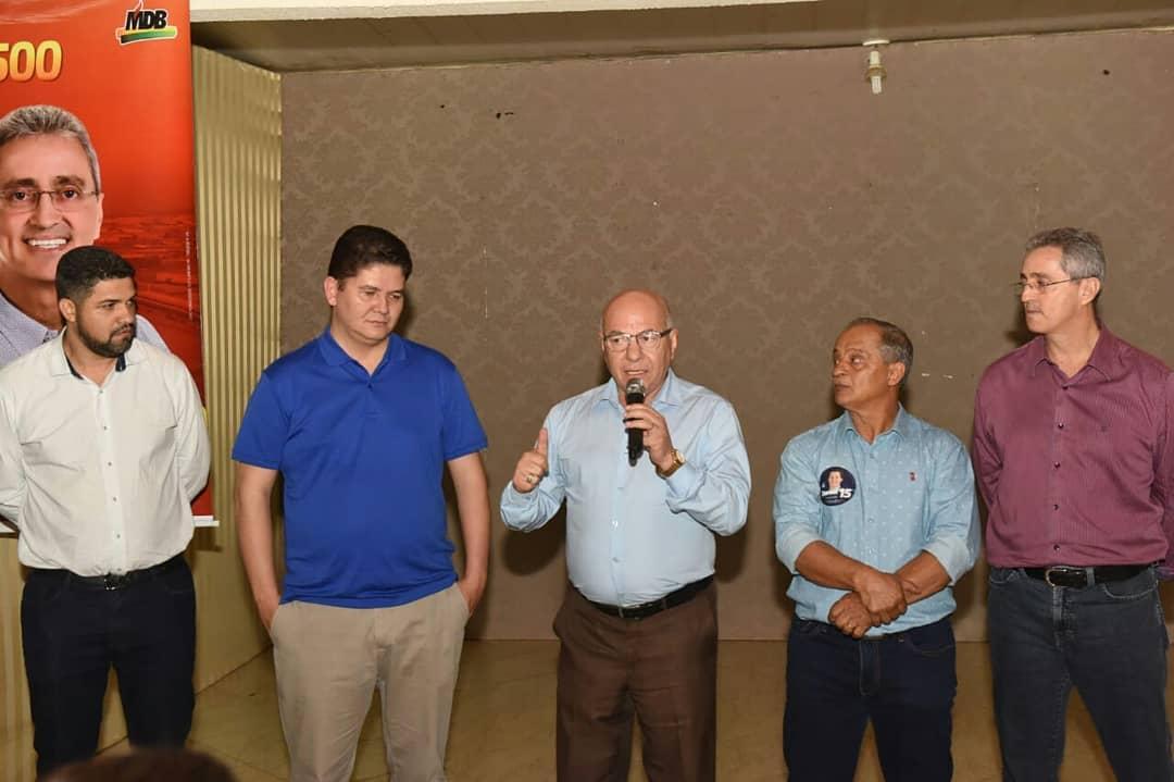 Em reunião na última quinta-feira, 16, estavam presentes Professor Alcides (PP), Heuler Cruvinel (PP), Ozair Menezes (MDB) e Almeidinha (MDB) | Foto: Reprodução