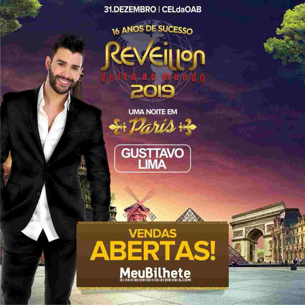 Réveillon 2019 em Goiânia: Réveillon Volta ao Mundo 2019 terá Gusttavo Lima | Foto: Divulgação
