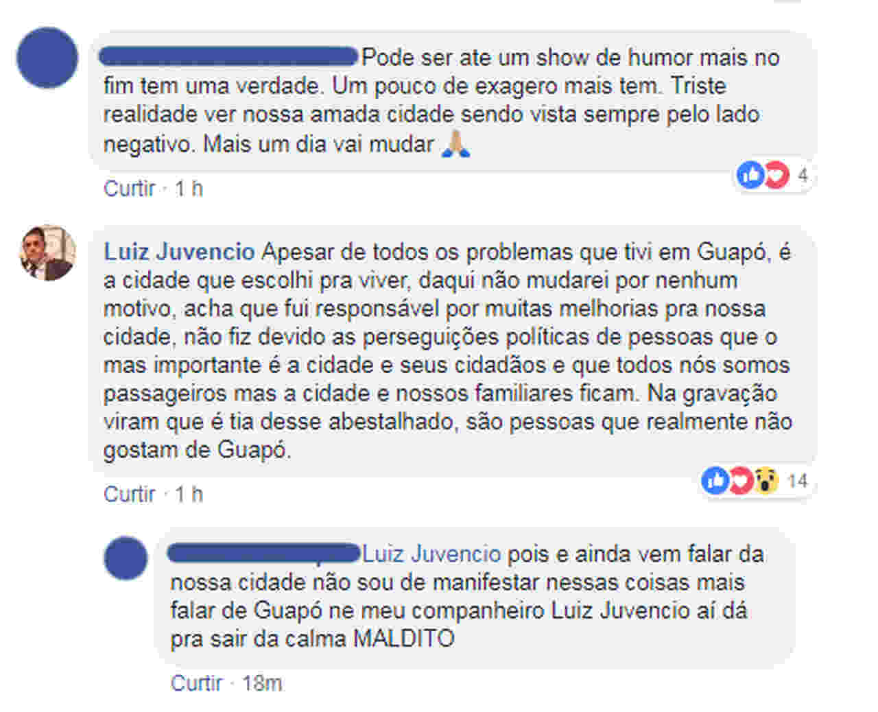 Ex-prefeito de Guapó, Luiz Juvêncio comentou o caso no Facebook   Foto: Reprodução