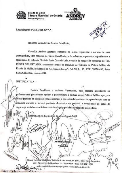 Câmara aprova moção de apoio a ser anexada ao dossiê funcional de PM   Foto: Reprodução