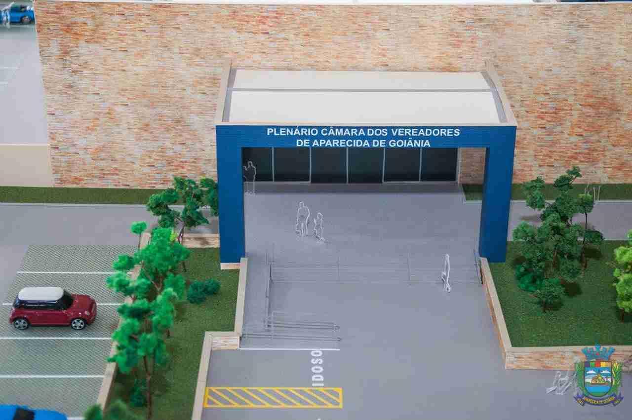 Maquete da nova sede da Câmara de Aparecida lançada em solenidade ainda no final de 2014   Foto: Câmara de Aparecida