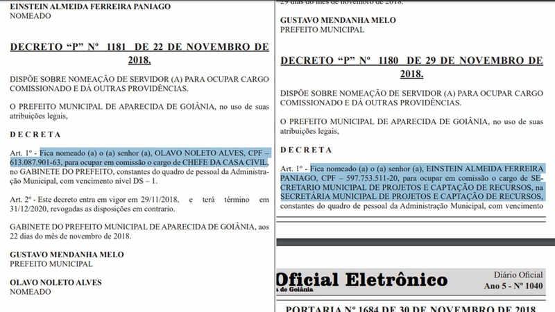 Nomeações de Einstein Paniago e Olavo Noleto foram publicadas na edição desta segunda-feira, 3, do Diário Oficial de Aparecida de Goiânia   Foto: Reprodução