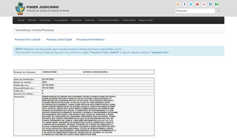 Consulta a processo no site do Tribunal de Justiça de Goiás dá detalhes sobre prisão em flagrante de diretor da Câmara investigado por grampo telefônico | Foto: Reprodução / TJGO