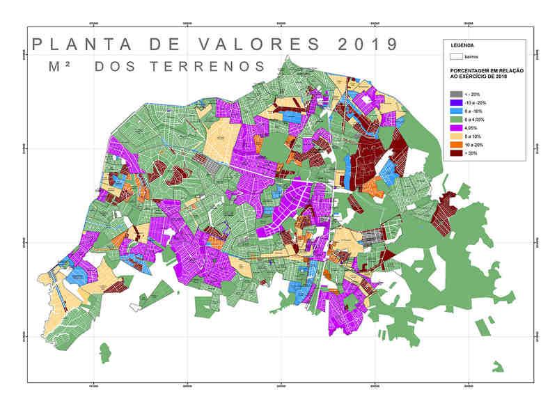 Mapa elaborado pela Prefeitura de Aparecida mostra atuais valores venais dos terrenos em comparação com os valores propostos   Foto: Divulgação