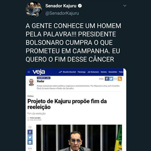 Por meio do Twitter, Kajuru convoca presidente Bolsonaro a não tentar reeleição | Foto: Reprodução