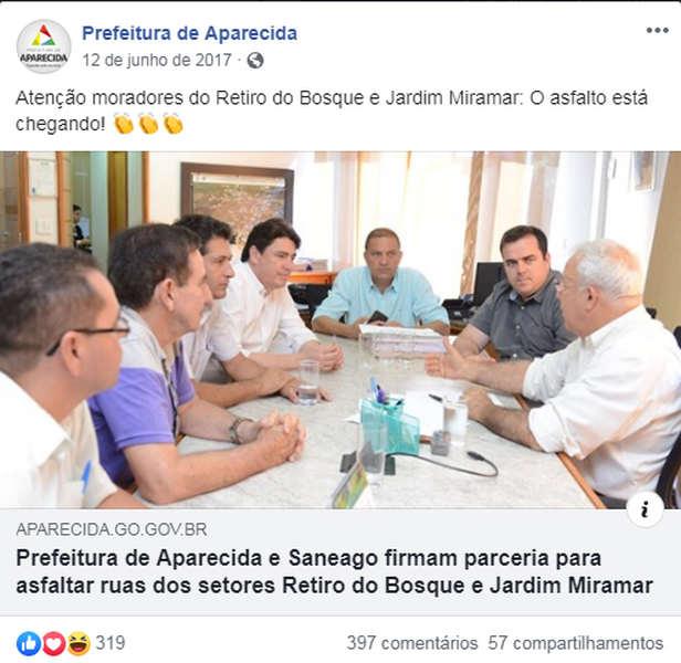 Em junho 2017, Prefeitura de Aparecida anunciava parceria com a Saneago para asfaltar ruas do Retiro do Bosque e do Jardim Miramar | Foto: Reprodução