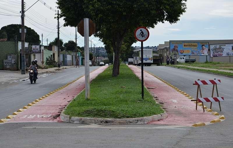 Moradores de Aparecida reclamam dos tachões usados para delimitar ciclofaixas na cidade | Foto: Wigor Vieira