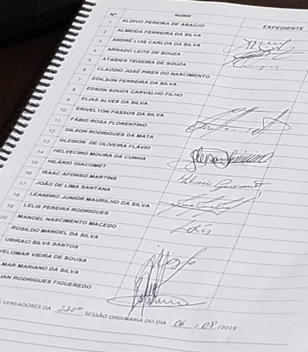 Lista de presença Câmara de Vereadores de Apareicda