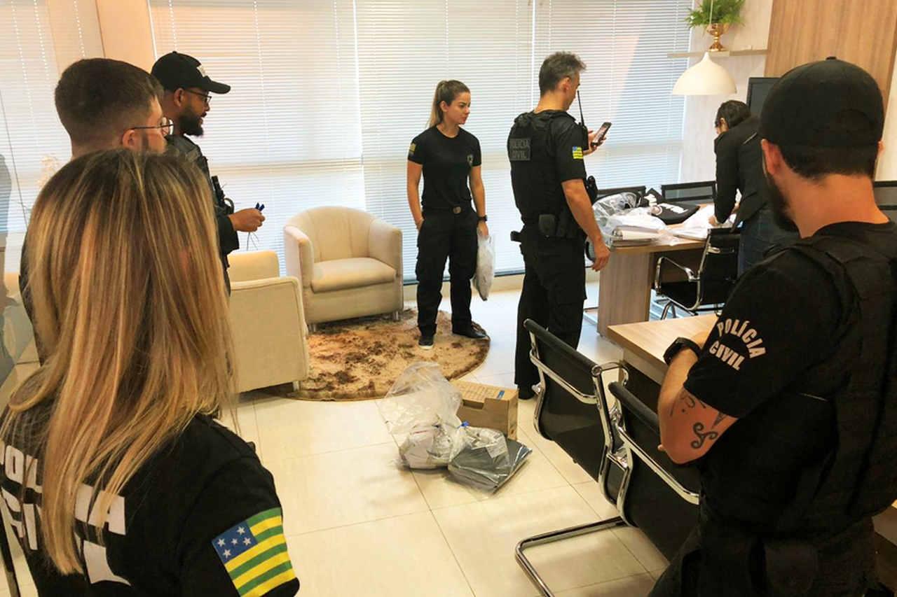 Operação cumpriu 62 mandados judiciais, sendo 7 de prisão temporária e 55 de busca e apreensão em Goiás, São Paulo, Mato Grosso do Sul e Distrito Federal   Foto: Divulgação / PC