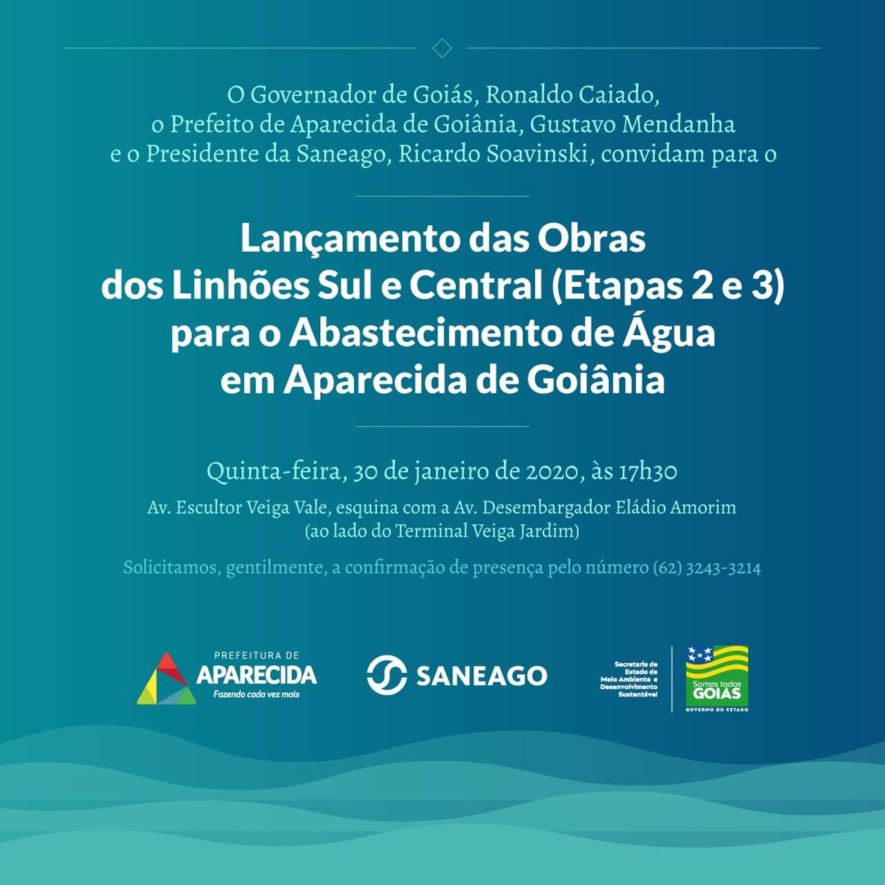 Lançamento das obras dos linhões Sul e Central para o abastecimento de água em Aparecida de Goiânia