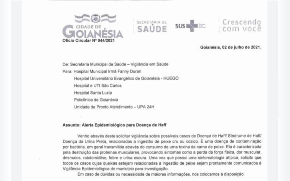 Alerta da SMS de Goianésia   Foto: Reprodução